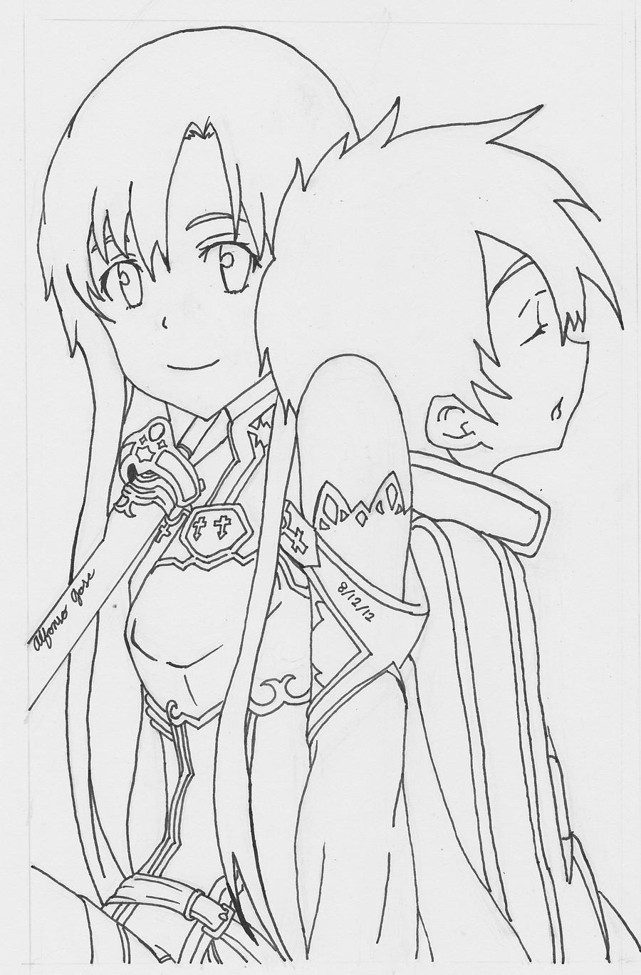 anime girl with swords coloring pages | Sword Art Online lineart by ajscorching on DeviantArt