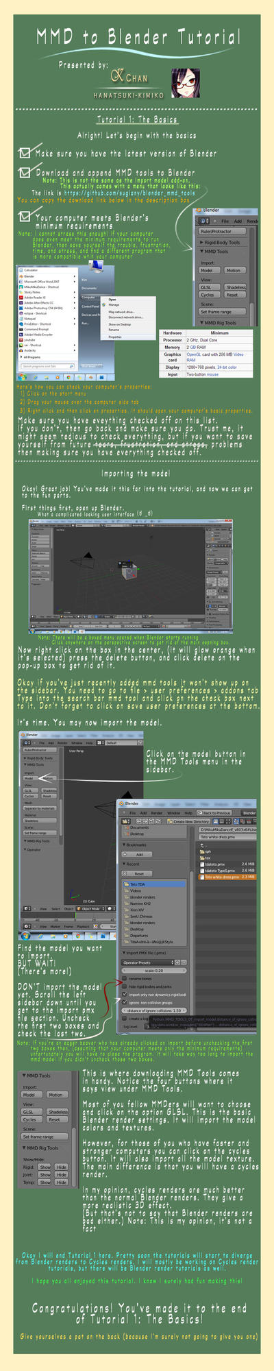[MMD to Blender] Tutorial 1: The Basics by Hanatsuki-Kimiko