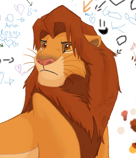 Simba no ref headshot lineart by ArtistMaz on DeviantArt
