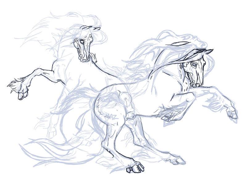 Thanatos and Loki Sketch 002 by ArtistMaz