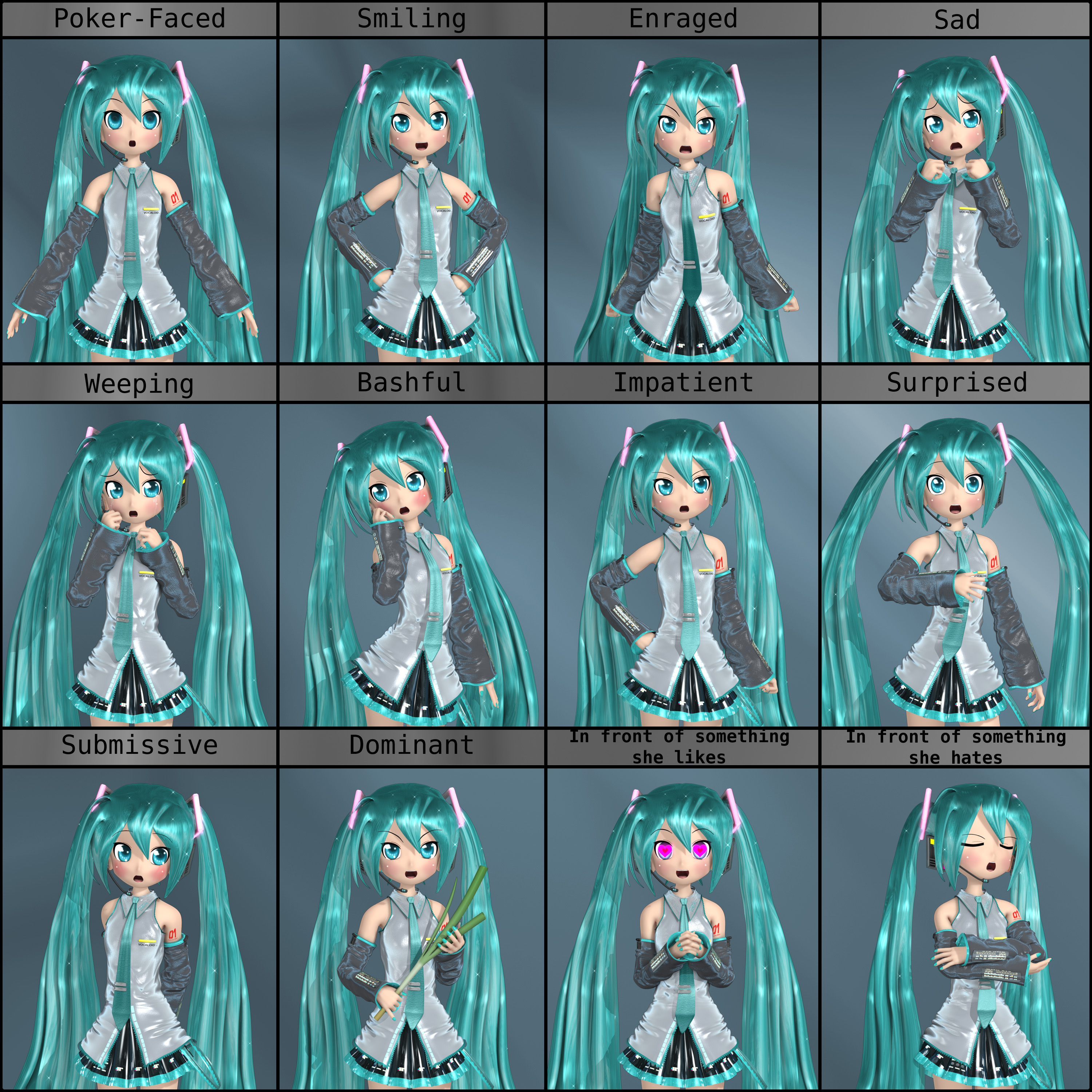 Chibi Miku - Expression Meme by Primantis