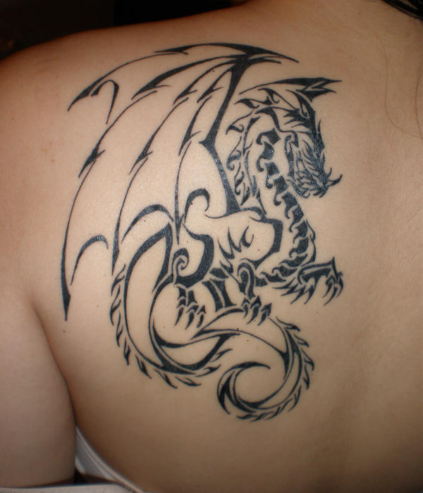 2nd tribal dragon tattoo - shoulder tattoo