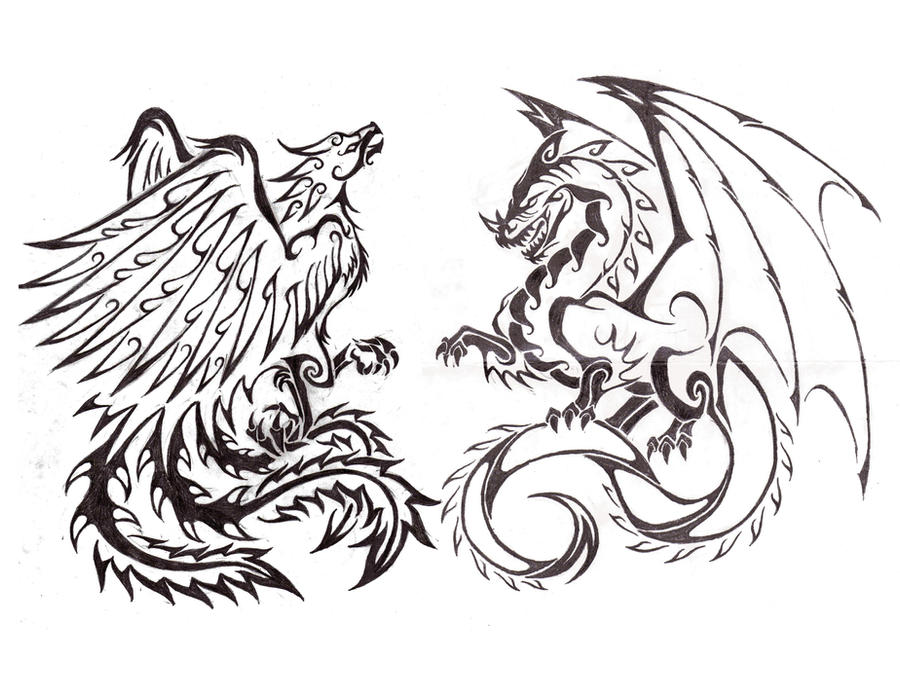 Dragon Phoenix combo tattoo