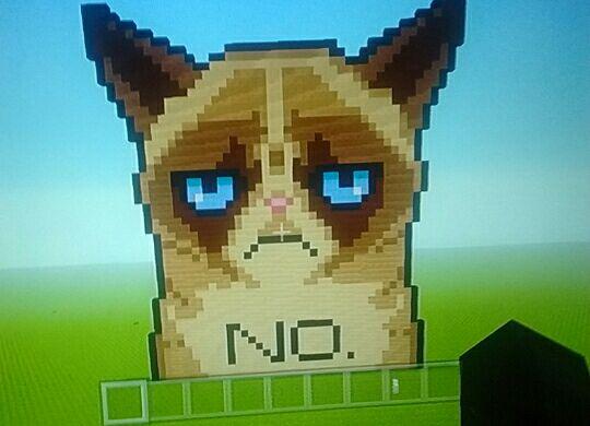 Grumpy Cat Minecraft Pixel Art By Thestoryteller2001 On