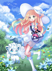 Pokemon Fanart Collab: Lillie and Alola Vulpix by PixiTales