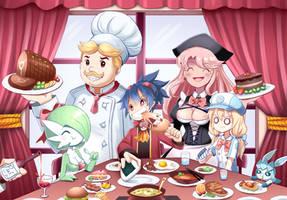 Pokemon Fanart: OC Katsumi Dineout by PixiTales