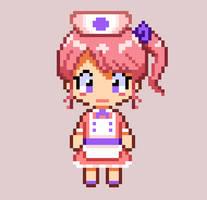 Serena the nurse OC 2D Sprite Pixel art by PixiTales