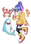 Littlewave Fanart: Raincoat Girl and friends
