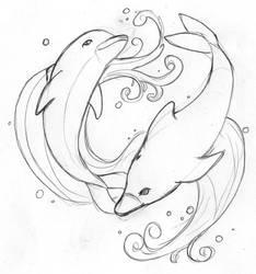 Dolphin Tattoo Flash by fenyxshalo