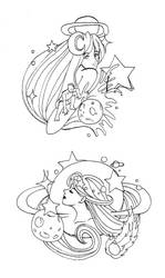 Astral Tattoo Flashes by fenyxshalo