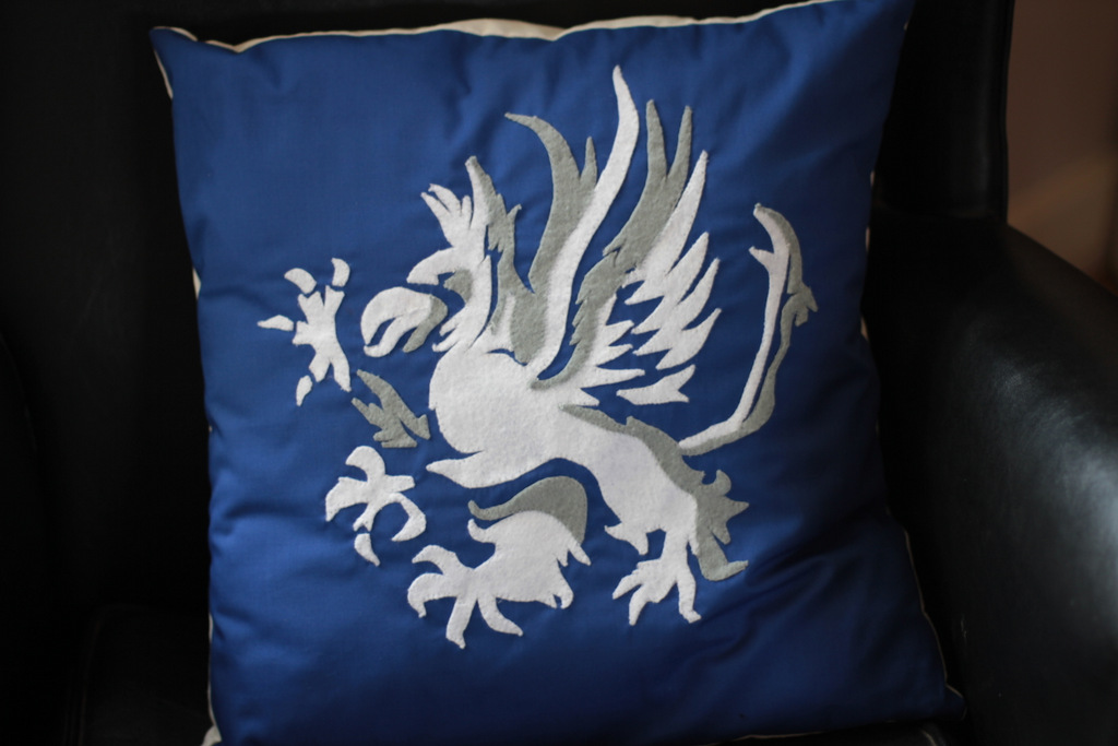 Customised Grey Warden Cushion by Asukauk