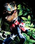 T-Rex vs Optimus Prime in Oil