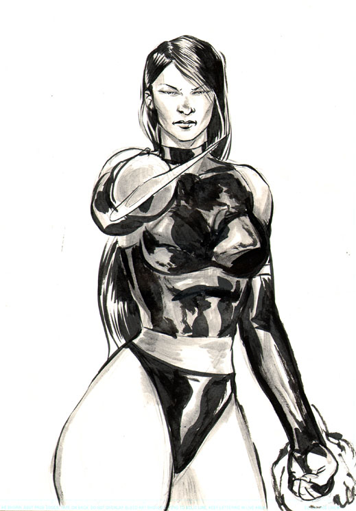 Psylocke Pencil and Ink Sketch by RNABrandEnt