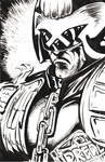 Judge Dredd brush and ink sketch