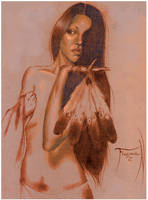 Native Woman Drawing by RNABrandEnt