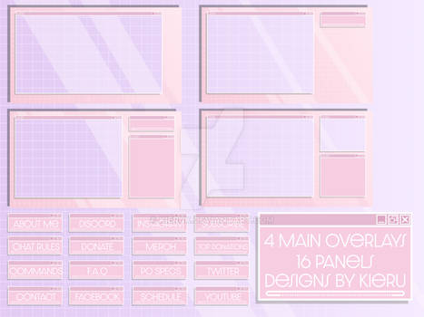 Stream Overlay package - Pastel Pink Windows