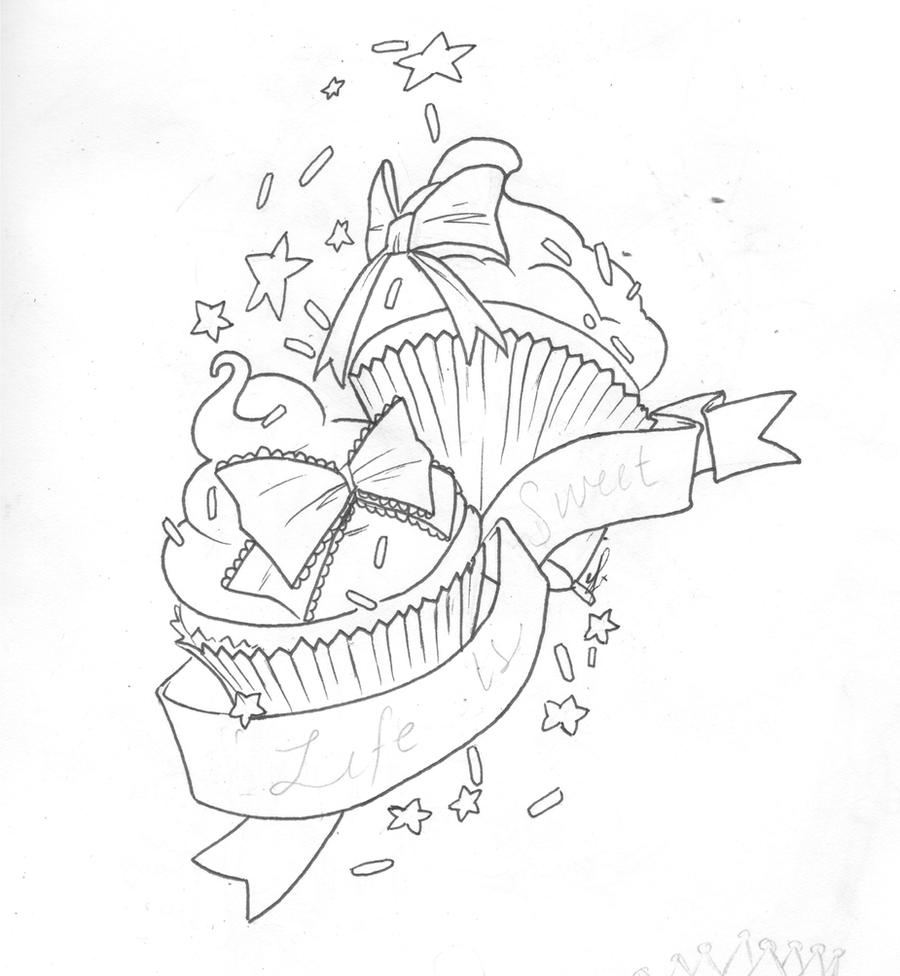 Tattoo Line Drawing Books : Cupcake tattoo design by elfrog on deviantart