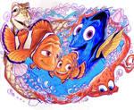 Marlin Nemo and Dory by Artfrog75