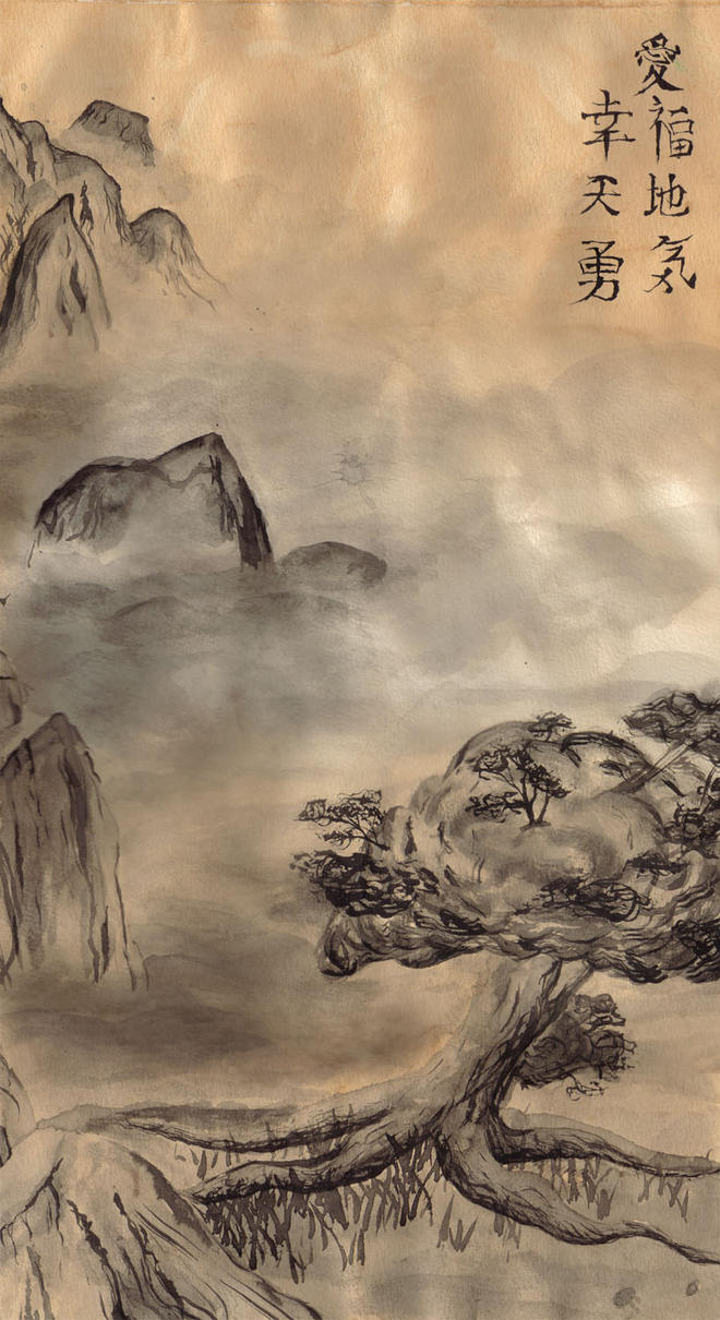 Asian Ink Painting by crimson-ivory
