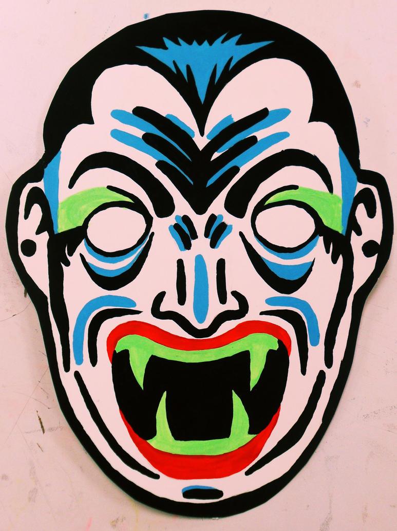 dracula vintage halloween mask painting by insertname
