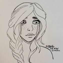 Inktober 2016 - #5 - Sad ! Girl crying