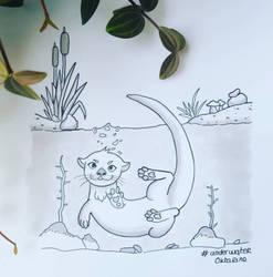 Inktober Underwater Otter