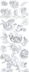Gen 5 Pokemon Sketch Dump - Part 3 by Angel-Moonlightwolf