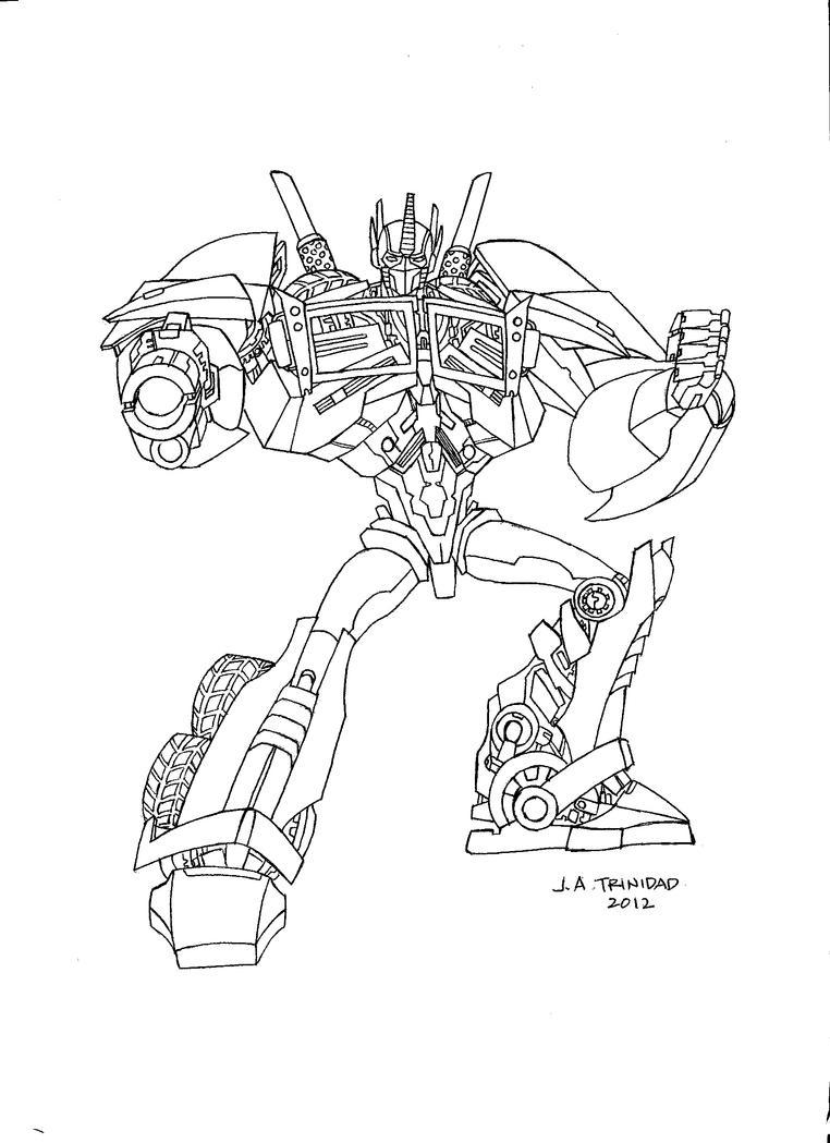 TF Prime Optimus Prime Lineart