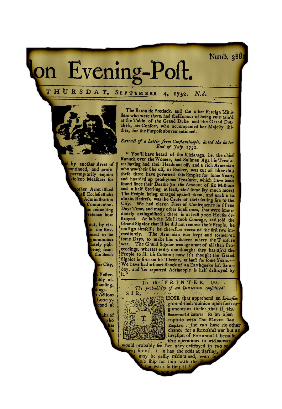 Newspaper for 4-9-1752
