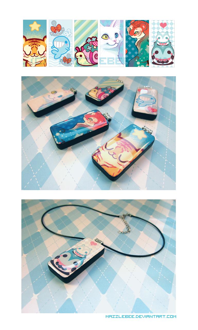 Resin Domino Pendants +For Sale+ by Mazzlebee