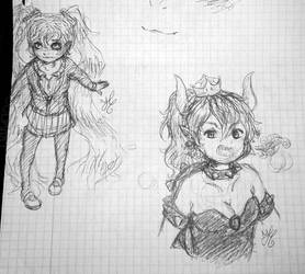 Vew from above study and Bowsette by Coline25