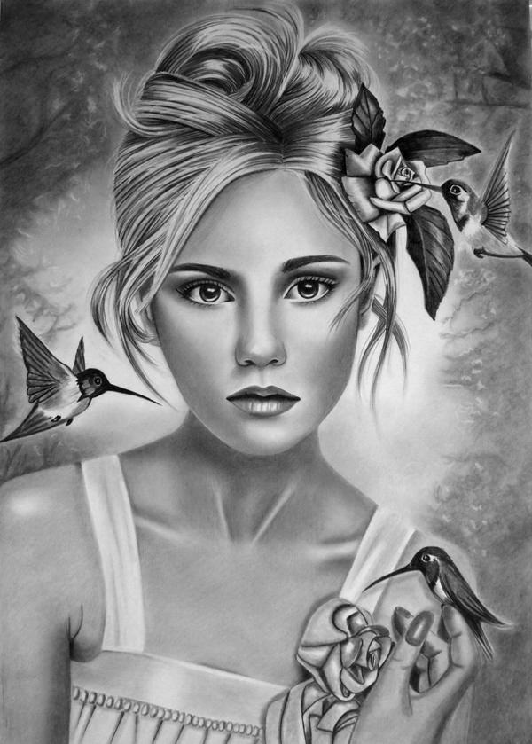 Her Humming Birds By Angelasportraits On Deviantart