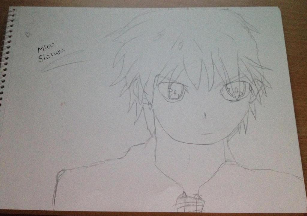 Manga anime boy pencil sketch michi shizuka by shizukashimai