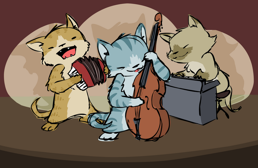 Cat Musicians by FancyFerret