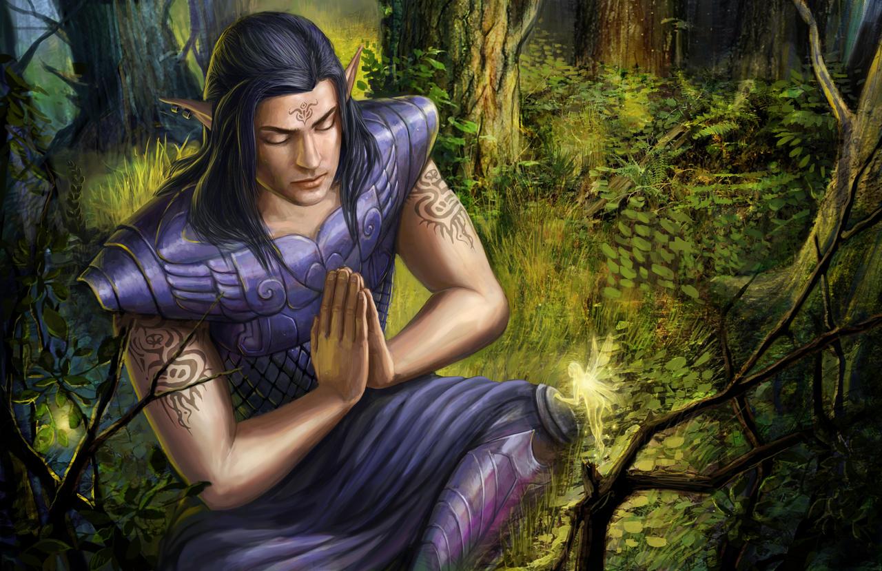 meditating elf 2 by Luis-Salas