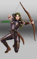 female elven warrior -commission- by Luis-Salas
