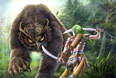 Darlanrea vs the Owlbear by Luis-Salas