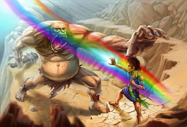 Halfling and Ogre by Luis-Salas