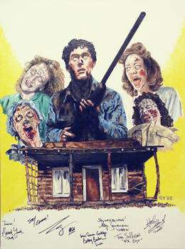 Evil Dead cast signed painting