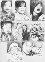 Family Portrait Sketch Cards 2