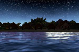 Night Time On Wahoo beach 2 by Pumpkin-Days-Game