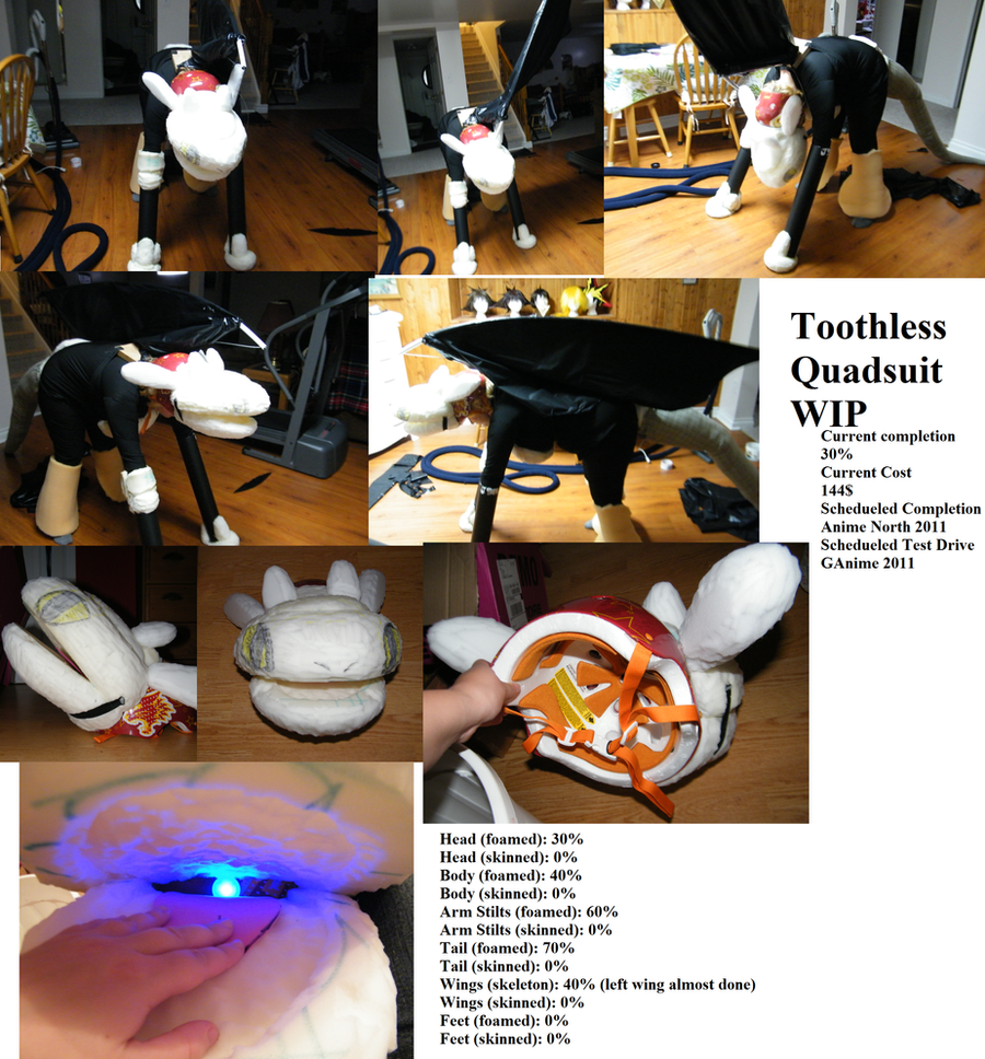 Toothless Quadsuit Wip Collage By Tsukune