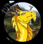 Gold dragon headshot