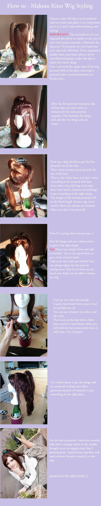 Makoto Kino Sailor Jupiter Wig tutorial by black---butterfly