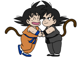 Kid Goku and Kid Goku Black