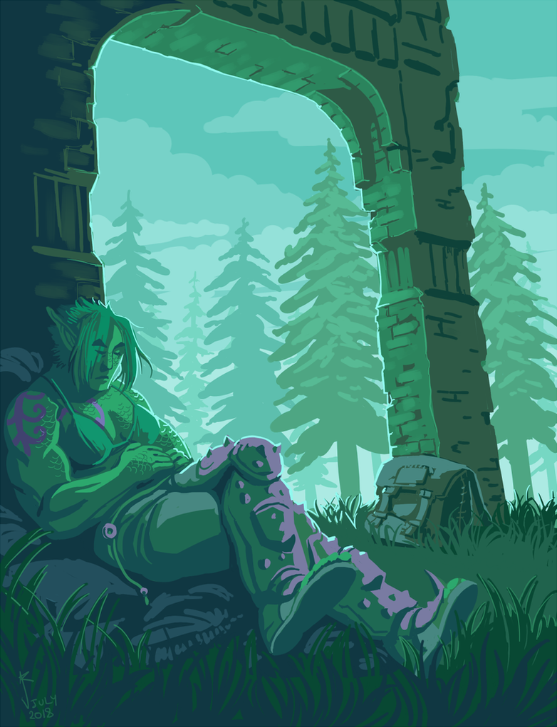 A snooze by the ruins by Jackarais