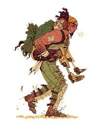 Poet Machk piggyback ride