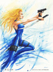 Kaya Dove Action watercolor by Lucidaelle