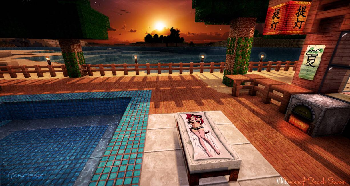 Minecraft Beach Sunset by NickPolyarush