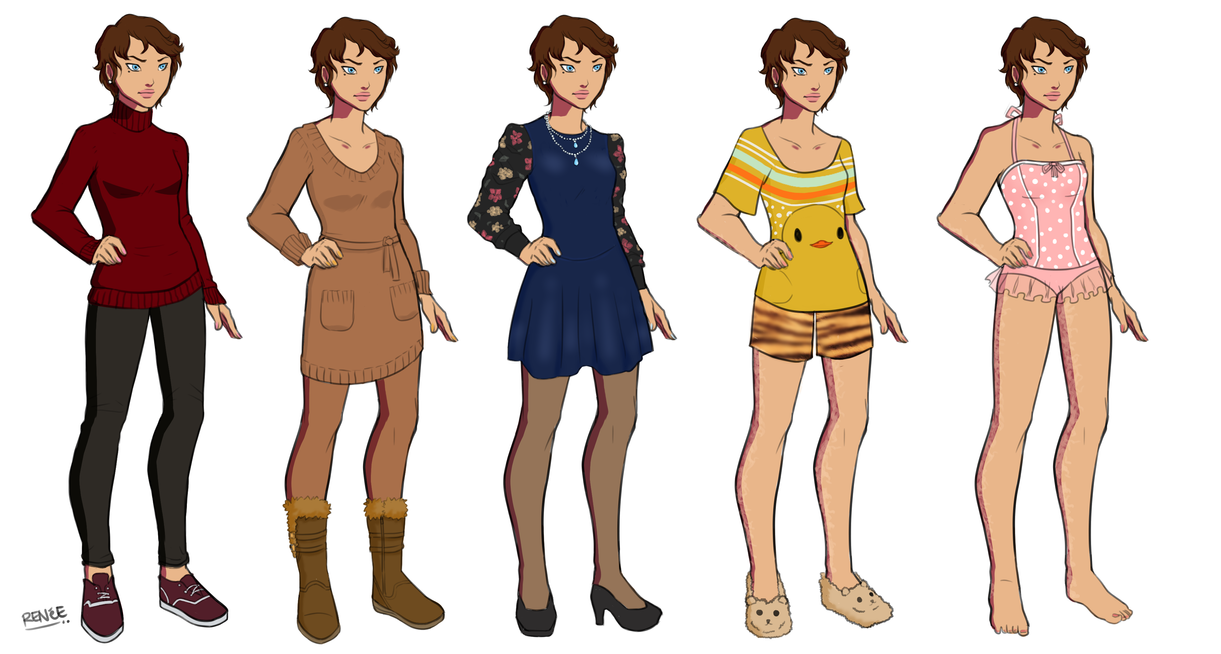 Snowflake Civilian Outfit Lineup by GlassSeraph